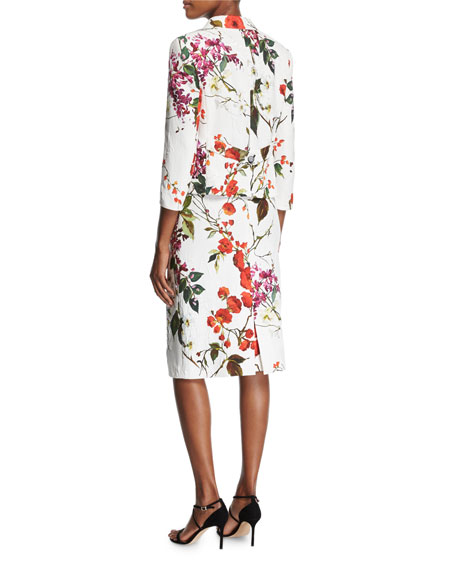 Floral Printed Matelasse Jacket, Multicolor/White