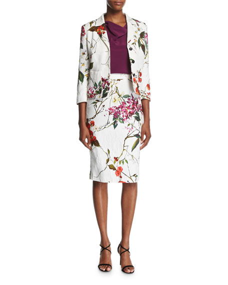 Floral Printed Matelasse Pencil Skirt