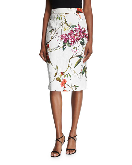 Escada Floral Printed Matelasse Jacket, Multicolor/White and