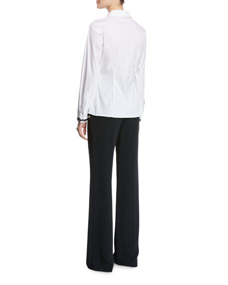 Contrast-Lace Poplin Shirt, White