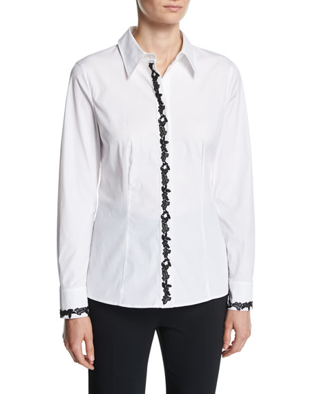 Escada Contrast-Lace Poplin Shirt, White