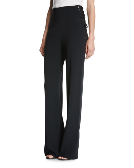 Tumerali High-Waist Wide-Leg Lace-Up Pants, Black