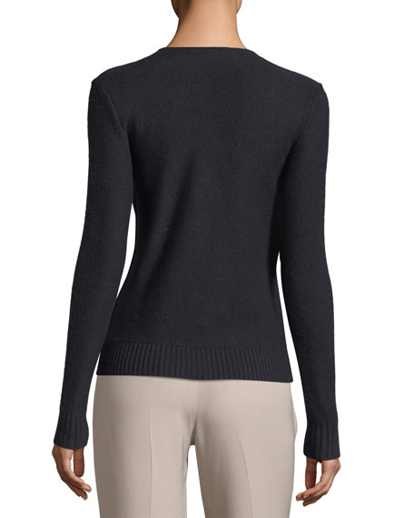 Kimberley Cashmere V-Neck Cable-Knit Sweater