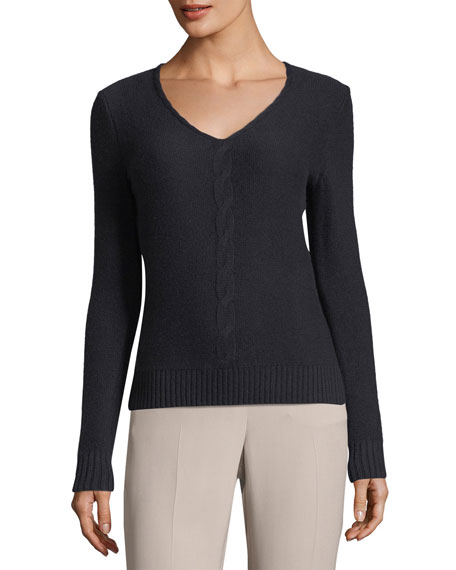 Loro Piana Kimberley Cashmere V-Neck Cable-Knit Sweater