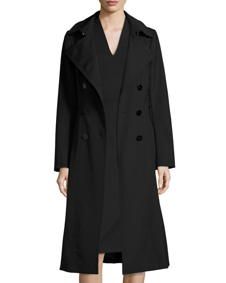 Techno Trench Coat with Lace-Up Sides, Black