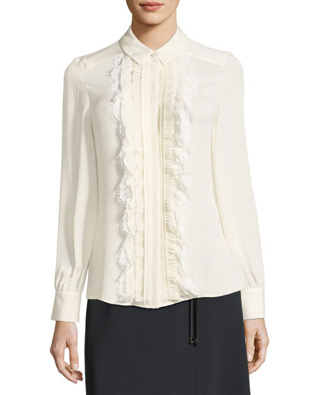 Escada Ruffled Lace-Bib Silk Shirt