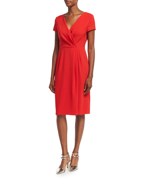 Faux-Wrap Crepe Short-Sleeve Dress, Acrylic Red