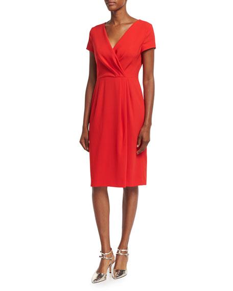 Escada Faux-Wrap Crepe Short-Sleeve Dress, Acrylic Red