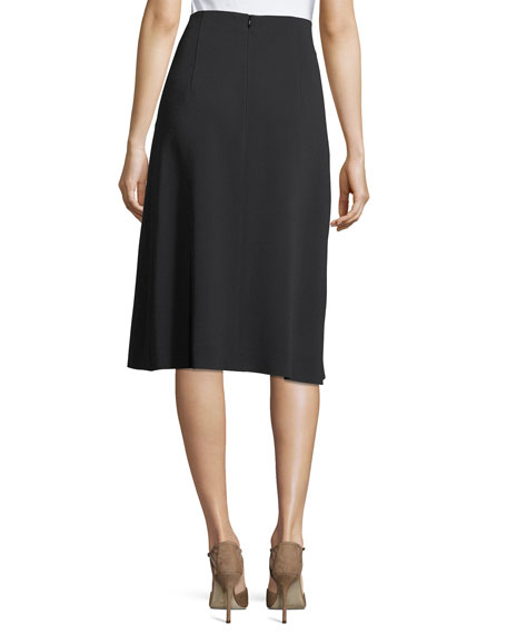 Lace-Up A-Line Midi Skirt
