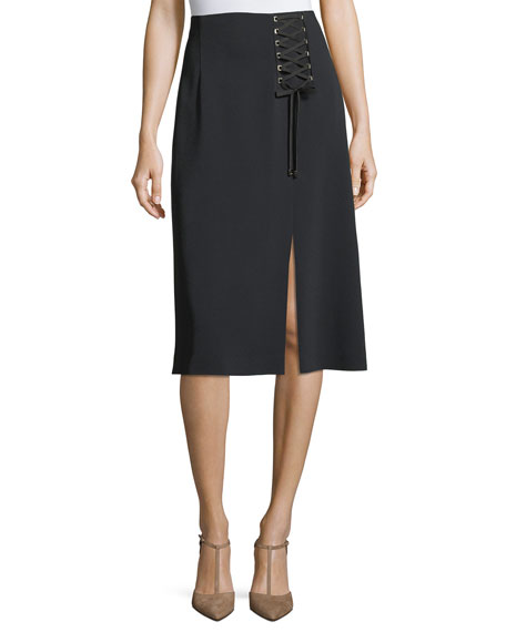 Escada Lace-Up A-Line Midi Skirt