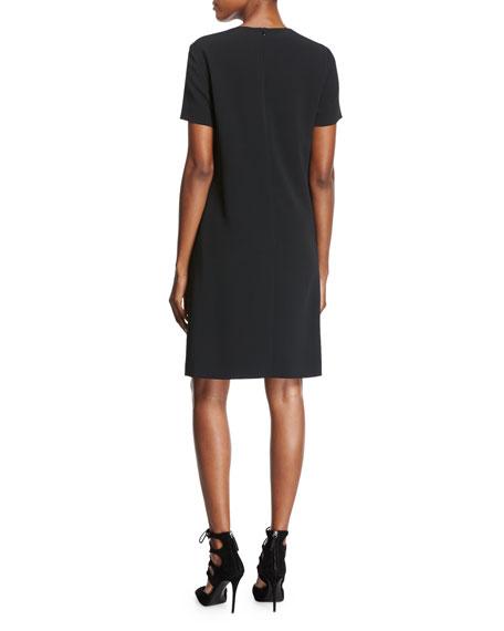 Short-Sleeve Crepe Shift Dress, Black