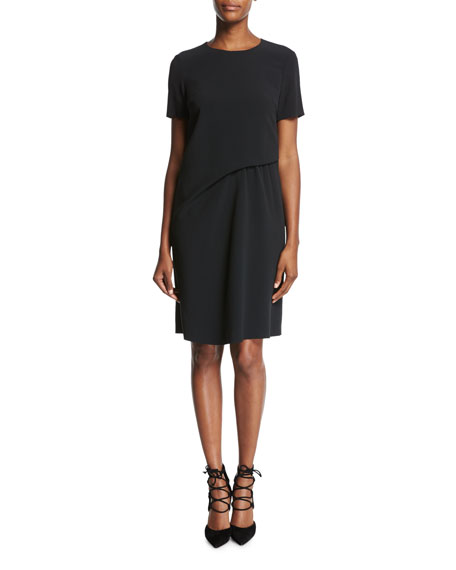 Escada Short-Sleeve Crepe Shift Dress, Black and Matching