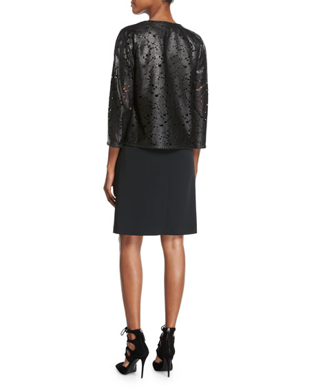 Floral Laser-Cut Leather Jacket, Black