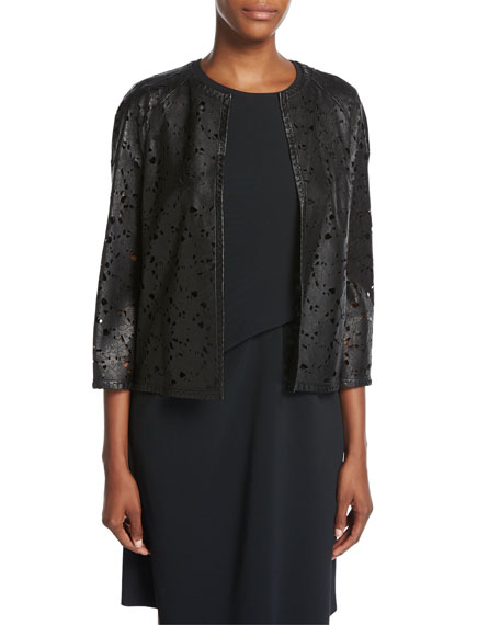 Escada Floral Laser-Cut Leather Jacket, Black