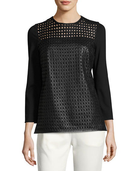 Escada Lattice Leather-Front Top
