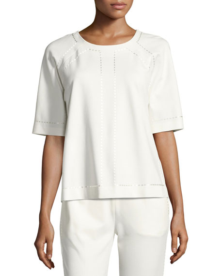 Escada Raglan-Sleeve Embroidered Jersey Top, Off White