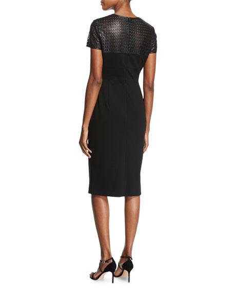 Leather-Yoke Short-Sleeve Sheath Dress, Black