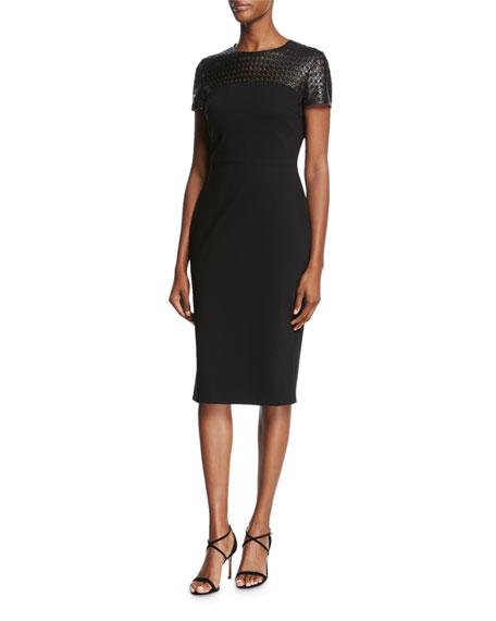 Escada Leather-Yoke Short-Sleeve Sheath Dress, Black