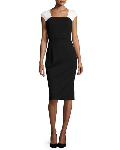 Escada Colorblock Cap-Sleeve Sheath Dress, Black