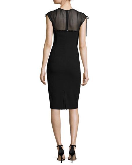 Embroidered Georgette-Yoke Sheath Dress, Black