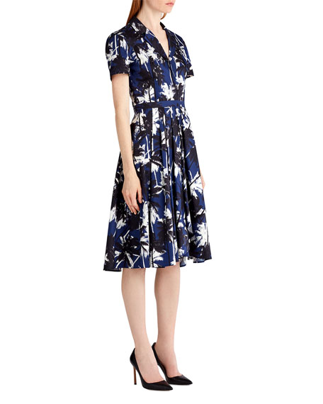 Short-Sleeve Palm-Print Shirtdress