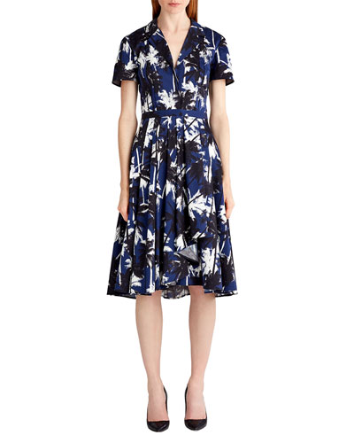 Short-Sleeve Palm-Print Shirtdress