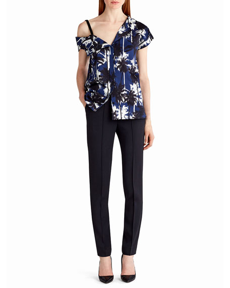 Jason Wu Asymmetric Palm-Print Blouse, Blue Pattern