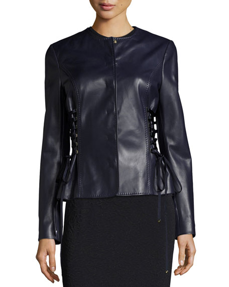Leather Jacket with Lace-Up Sides, Deep Sea