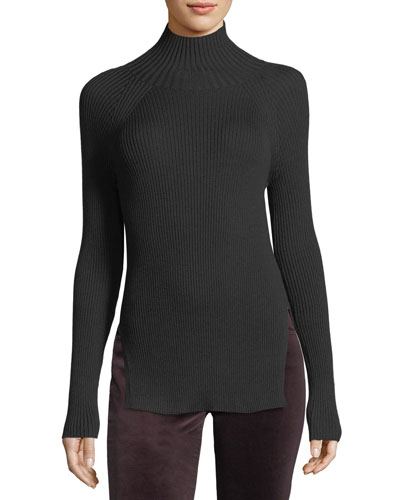 Cashmere-Silk Turtleneck Long-Sleeve Ribbed Pullover Sweater