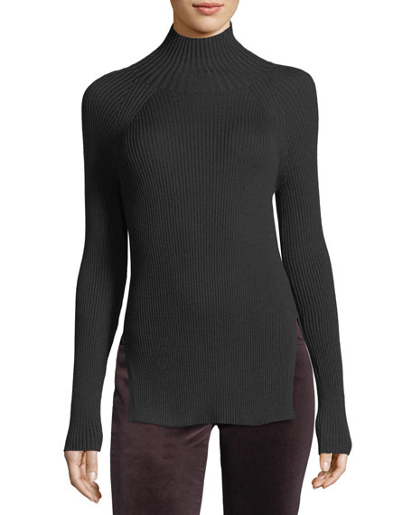 Loro Piana Cashmere-Silk Turtleneck Long-Sleeve Ribbed Pullover