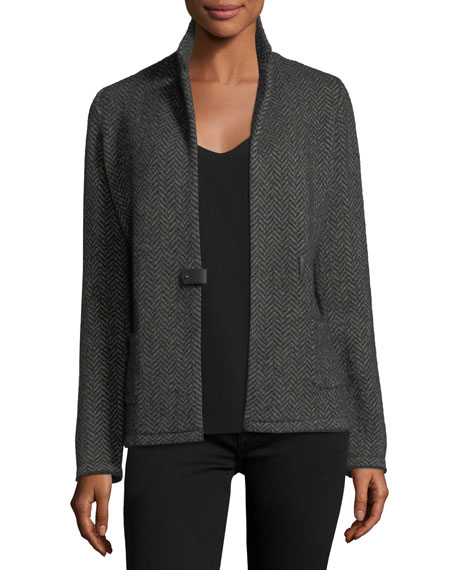 Giacca Herringbone Cashmere-Silk Sweater Jacket