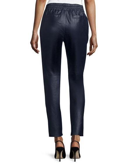 Lunana Leather Ankle Pants, Deep Sea