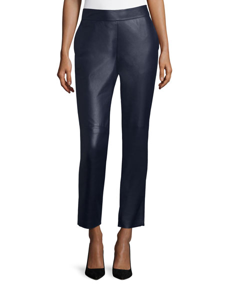 Lunana Leather Ankle Pants, Deep Sea