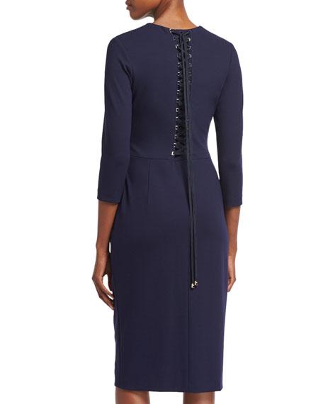 Zip-Front Lace-Up Sheath Dress, Deep Sea