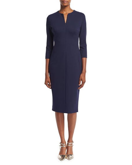 Escada Zip-Front Lace-Up Sheath Dress, Deep Sea