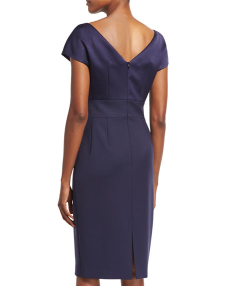 Eve Satin-Bodice Sheath Dress, Deep Sea