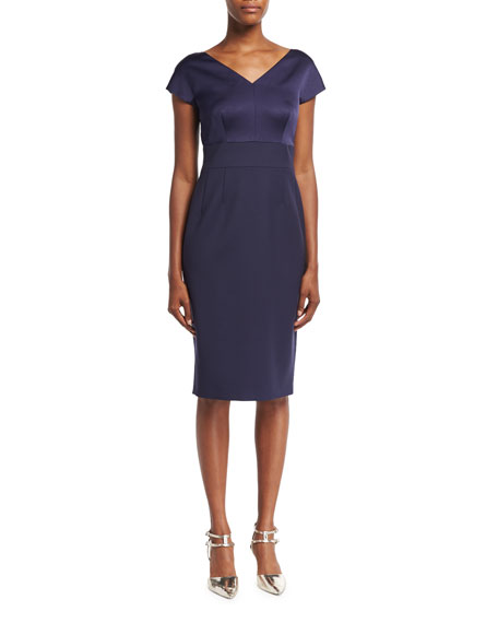 Escada Eve Satin-Bodice Sheath Dress, Deep Sea