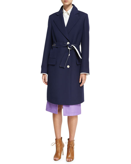 Derek Lam Crombie Tailored Single-Breasted Belted Coat, Navy