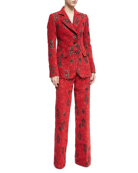 Velvet Floral Jacquard High-Waist Wide-Leg Pants