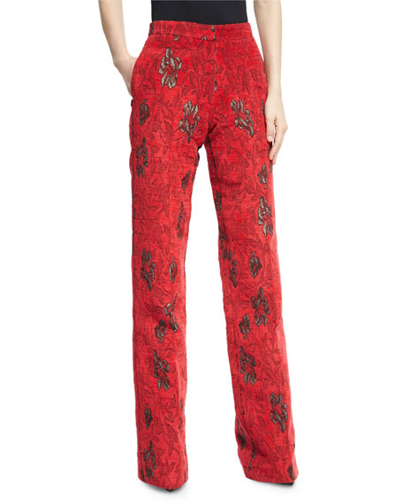 Derek Lam Velvet Floral Jacquard High-Waist Wide-Leg Pants