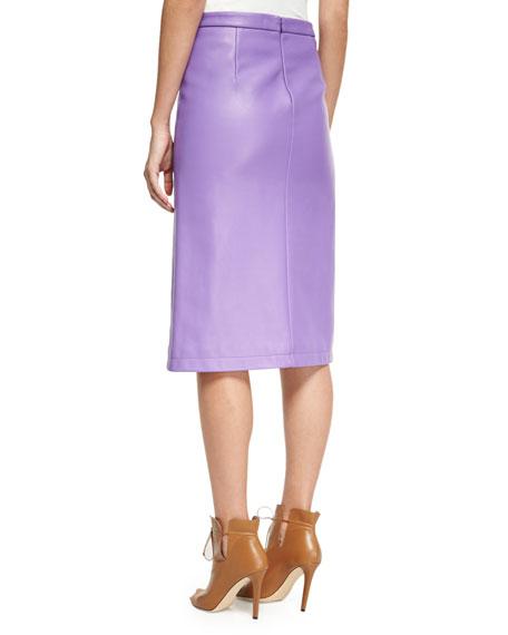 Napa Leather Slit-Front Pencil Skirt, Purple