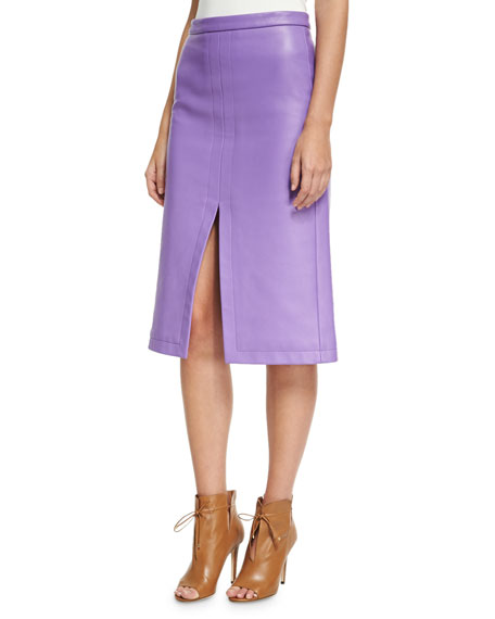 Derek Lam Napa Leather Slit-Front Pencil Skirt, Purple