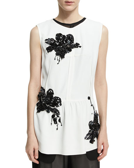 Derek Lam Sequined Lily Sleeveless Peplum Top, White