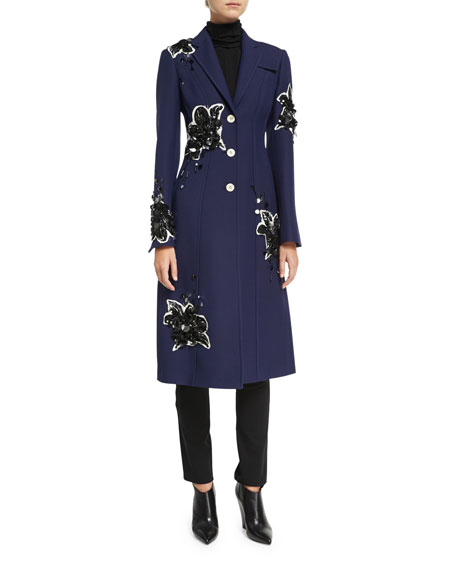 Derek Lam Floral-Embellished Tailored Single-Breasted Coat