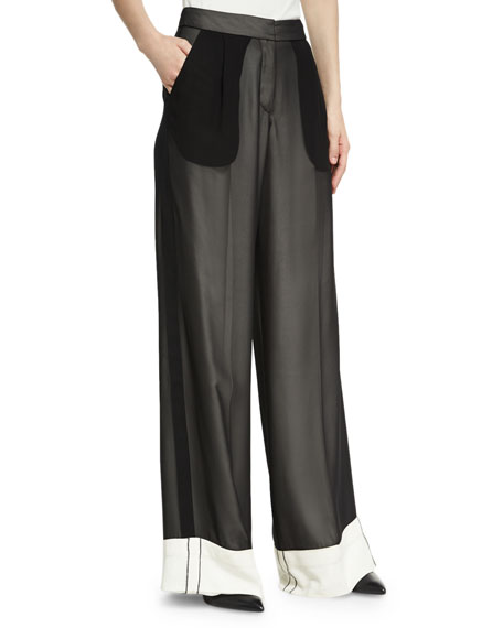 Derek Lam Double-Layer Chiffon Wide-Leg Tuxedo Pants
