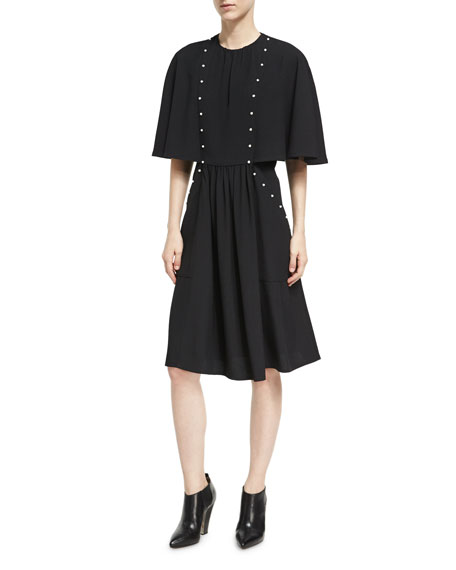 Derek Lam Pearly-Studded Capelet Dress