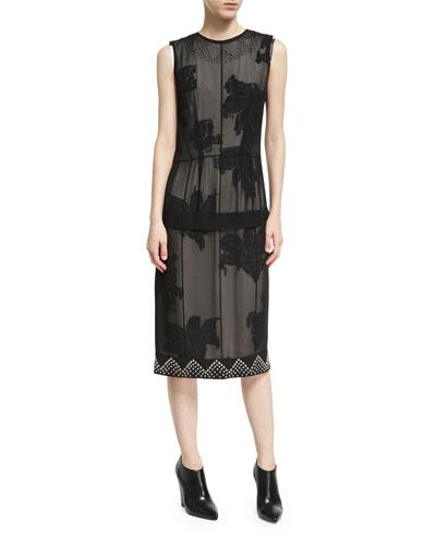 Studded Double-Layer Chiffon Dress