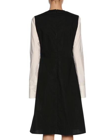 x Sally Smart Long-Sleeve Cotton Dress, Blue/White/Black