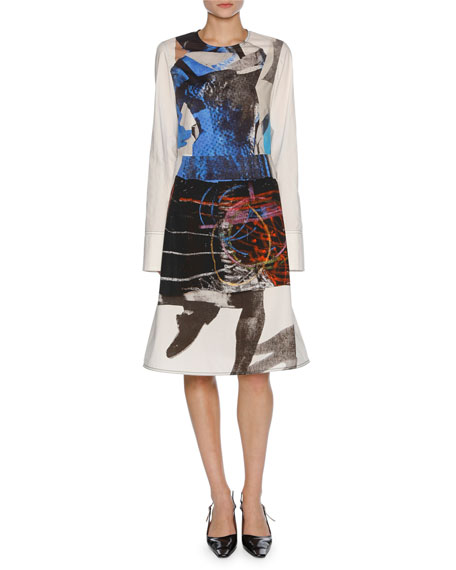 Marni x Sally Smart Long-Sleeve Cotton Dress, Blue/White/Black