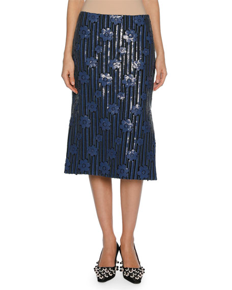 Marni Sequined Flowerbed Pencil Skirt, Blue